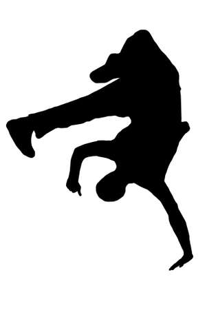 streetdancer silhouette isolated on white background