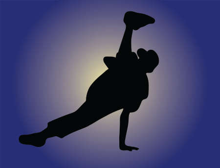 Silhouette of hip hop dancer over a white background Vector