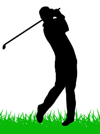 golfer silhouette with grass Vector
