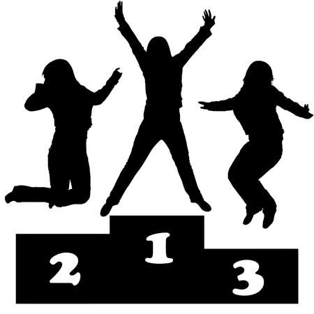winners on a podium silhouettte Vector