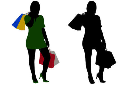 Silhouette of  Women shopping isolated on white Stock Vector - 8595449