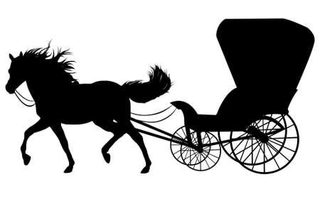 carriage: Silhouette nere di un cavallo con trasporto Vettoriali