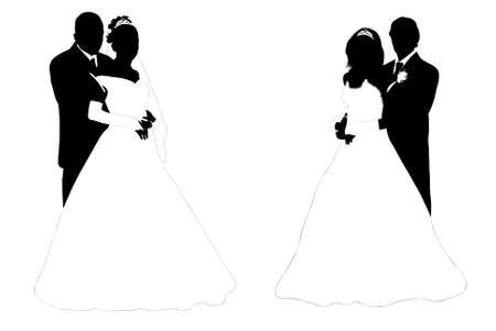 formal clothing: wedding couple silhouette