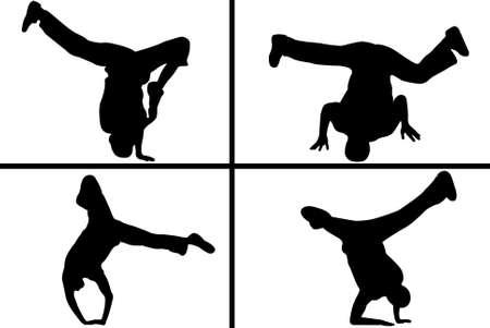 baile hip hop: silueta de streetdancer aislado en fondo blanco Vectores