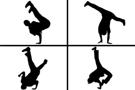 hip hop dance: streetdancer silhouette isolated on white background
