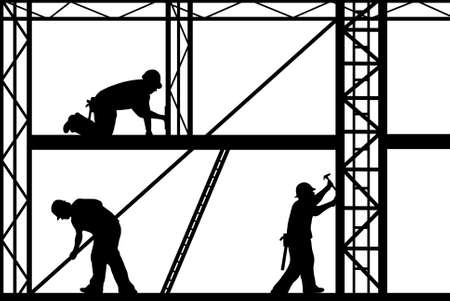 construction workers isolated on white