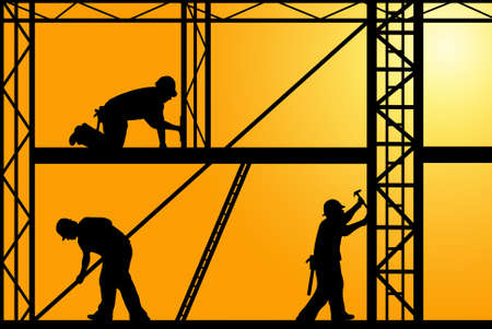 construction workers with orange sky in background photo
