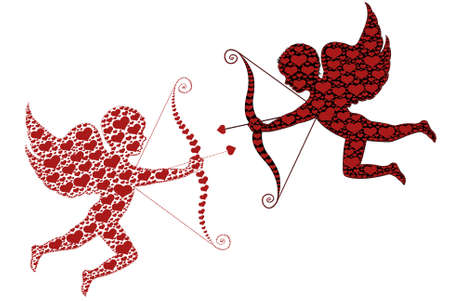 cupid: Red and black cupid isolated on white