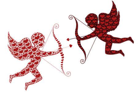Rode en zwarte cupid geïsoleerd op wit