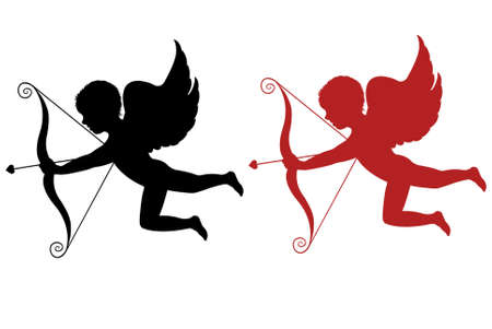 amor: Rote und schwarze Cupid isolated on white background