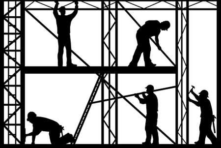 andamios: Silueta de los trabajadores de la construcci�n aislada sobre fondo blanco Vectores