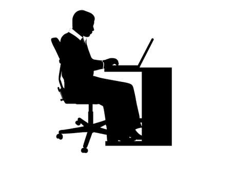 computer table: Businessman at desk isolated on white background Illustration