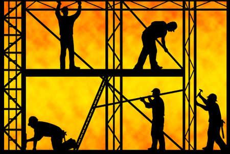 andamio: trabajadores de la construcci�n con degradado naranja en segundo plano