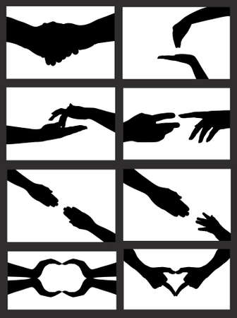 feminine hands: hand signs silhouette isolated on white Illustration