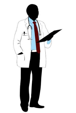 gu�rir: Silhouette de m�decin isol� sur fond blanc
