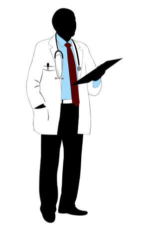 Medical doctor silhouette isolated on white Vectores