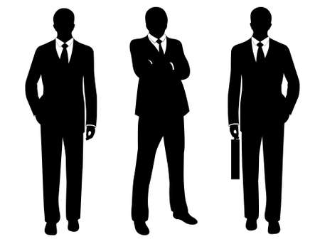 black business men: businessmen in suit silhouette isolated on white Illustration