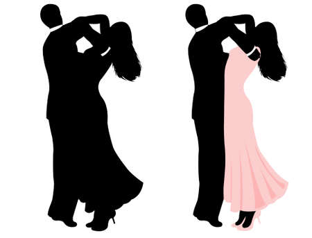 Illustration of a couple dancing isolated on white Vector