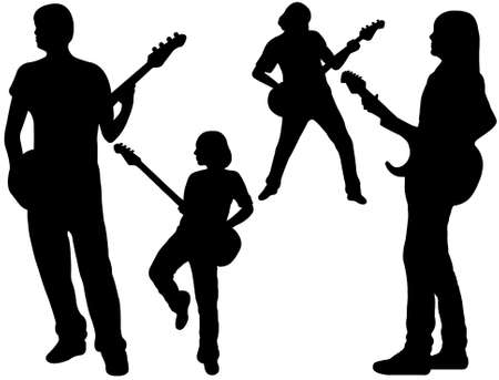 rock guitarist: singing band silhouette isolated on white