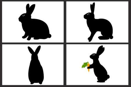 silhouette lapin: Lapin de Pâques collage isolé sur blanc Illustration
