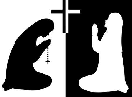 believe: Orando monjas aisladas en blanco y negro Vectores