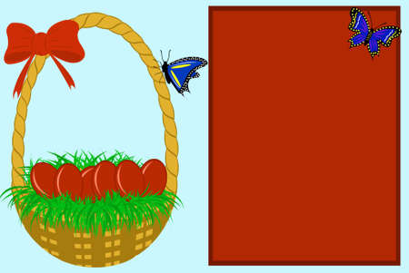 Easter greeting card with blue in background Vector