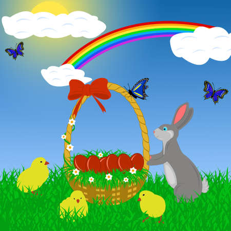 Easter rabbit with eggs in a basket photo