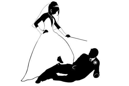 dominacion: Silueta de par de boda aislado en blanco