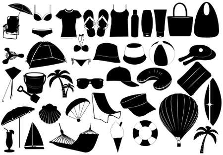 Illustration of summer vacation objects isolated on white
