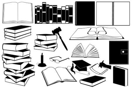 opened: illustration of different kind of books and accessories