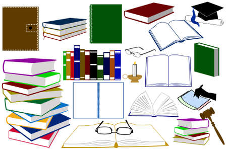 Illustration of different kinds of books and accessories Vector