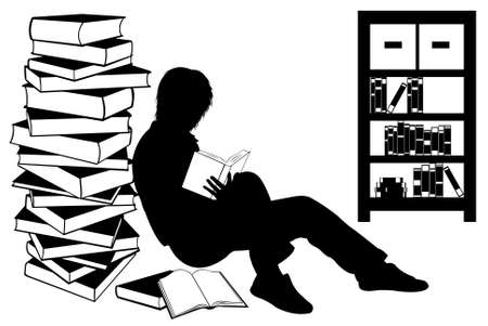 Silhouette of a girl reading a book isolated on white