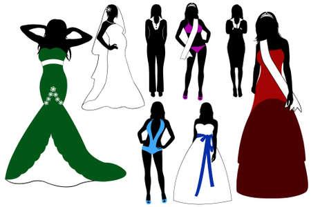Illustration of women wearing different dresses