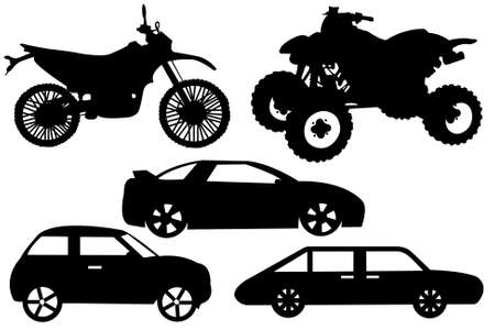 Collage with different automobiles isolated on white Illustration