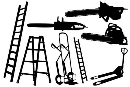 ladders: Different object isolated on white