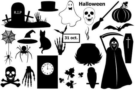 trumna: Halloween elementów wyizolowanych biały Ilustracja