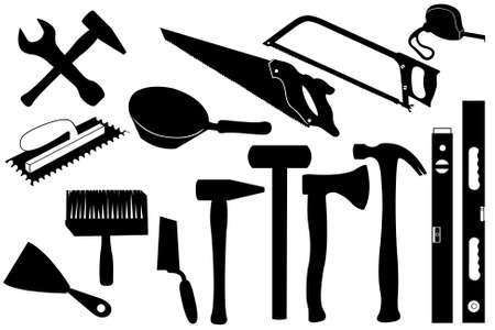 Hands tools isolated on white Vector