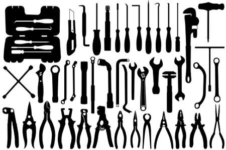 adjustable wrench: Hand tools silhouette isolated on white