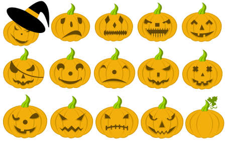 Halloween pumpkins isolated on white Stock Vector - 10440239