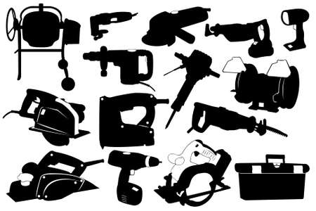 toolbox: Electric tools isolated on white Illustration