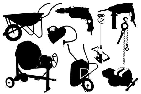 Objetos de construcción aislado en blanco Ilustración de vector