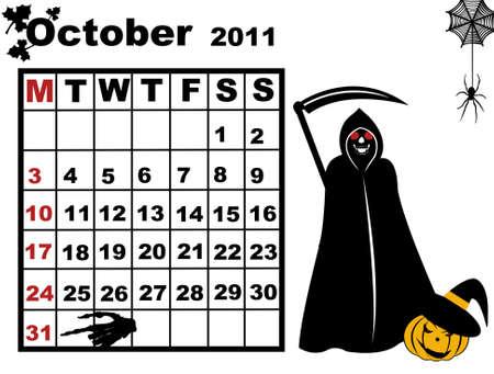 October calendar isolated on white Vector