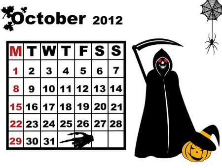 October calendar 2012 isolated on white Vector