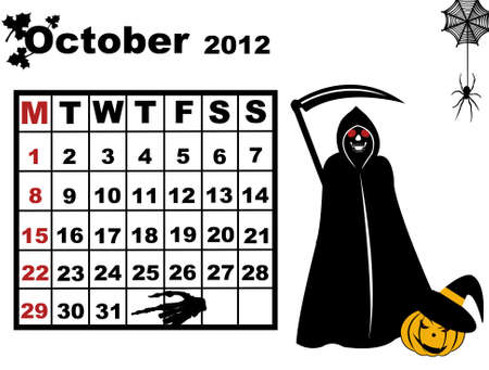 October calendar 2012 isolated on white Vector