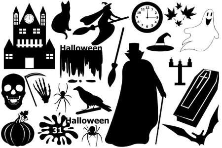 Halloween elements isolated on white Stock Illustratie