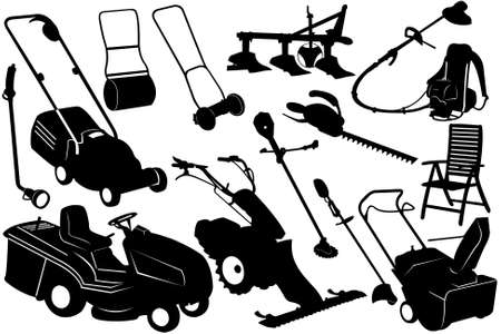 mower: Illustration of gardening tools and equipment