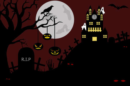 Castle view from a cemetery at night illustration Vector