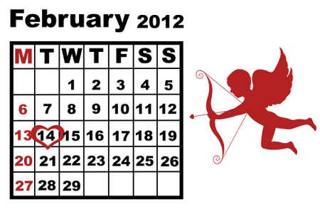 February calendar 2012 with cupid Stock Vector - 10471985
