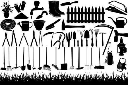 escoba: Ilustración de las herramientas de jardinería y equipos