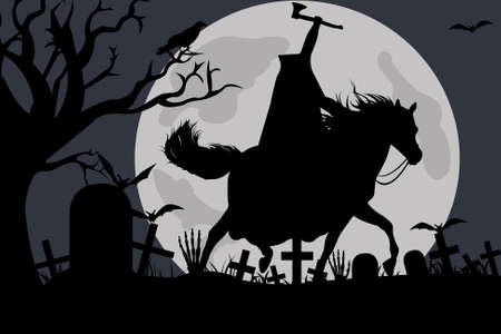 Illustration of a headless horseman with moon in background Stock Illustratie